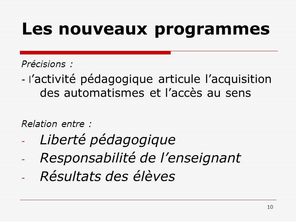 10 Les nouveaux programmes Précisions : - lactivité pédagogique articule lacquisition des automatismes et laccès au sens Relation entre : - Liberté pé