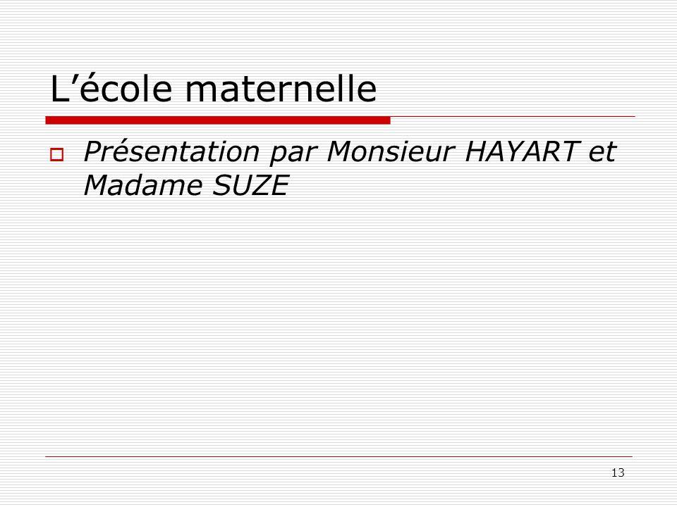 13 Lécole maternelle Présentation par Monsieur HAYART et Madame SUZE