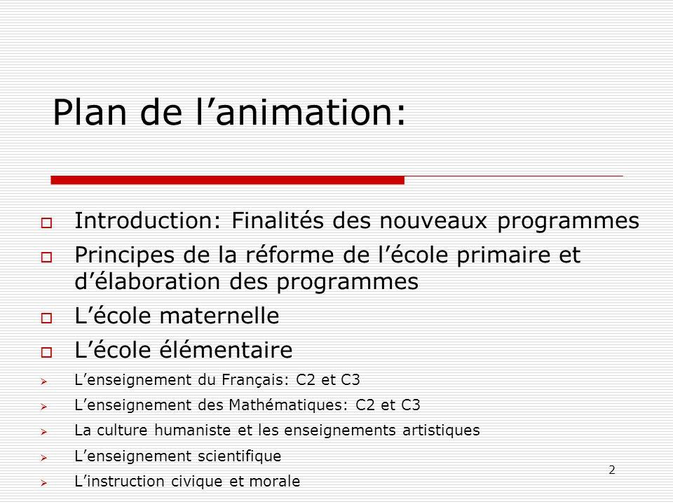 2 Plan de lanimation: Introduction: Finalités des nouveaux programmes Principes de la réforme de lécole primaire et délaboration des programmes Lécole