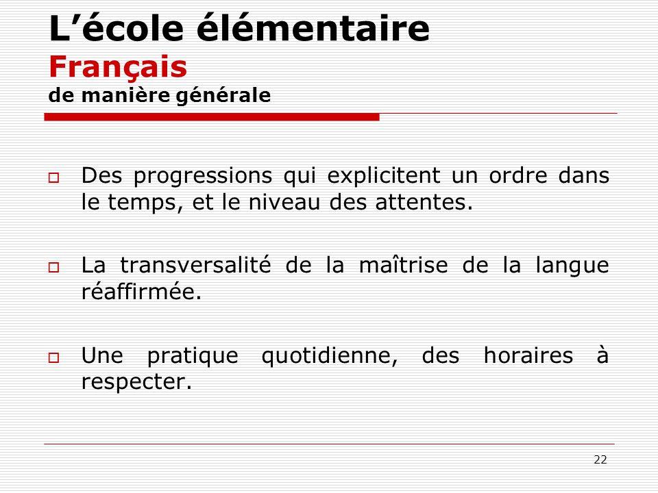 22 Lécole élémentaire Français de manière générale Des progressions qui explicitent un ordre dans le temps, et le niveau des attentes. La transversali