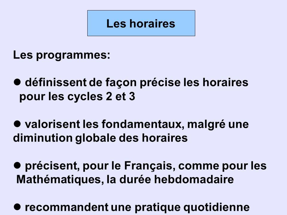 Les horaires Les programmes: définissent de façon précise les horaires pour les cycles 2 et 3 valorisent les fondamentaux, malgré une diminution globa
