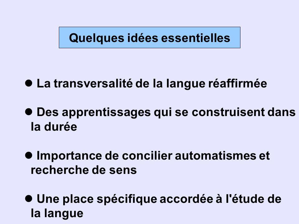 Quelques idées essentielles La transversalité de la langue réaffirmée Des apprentissages qui se construisent dans la durée Importance de concilier aut