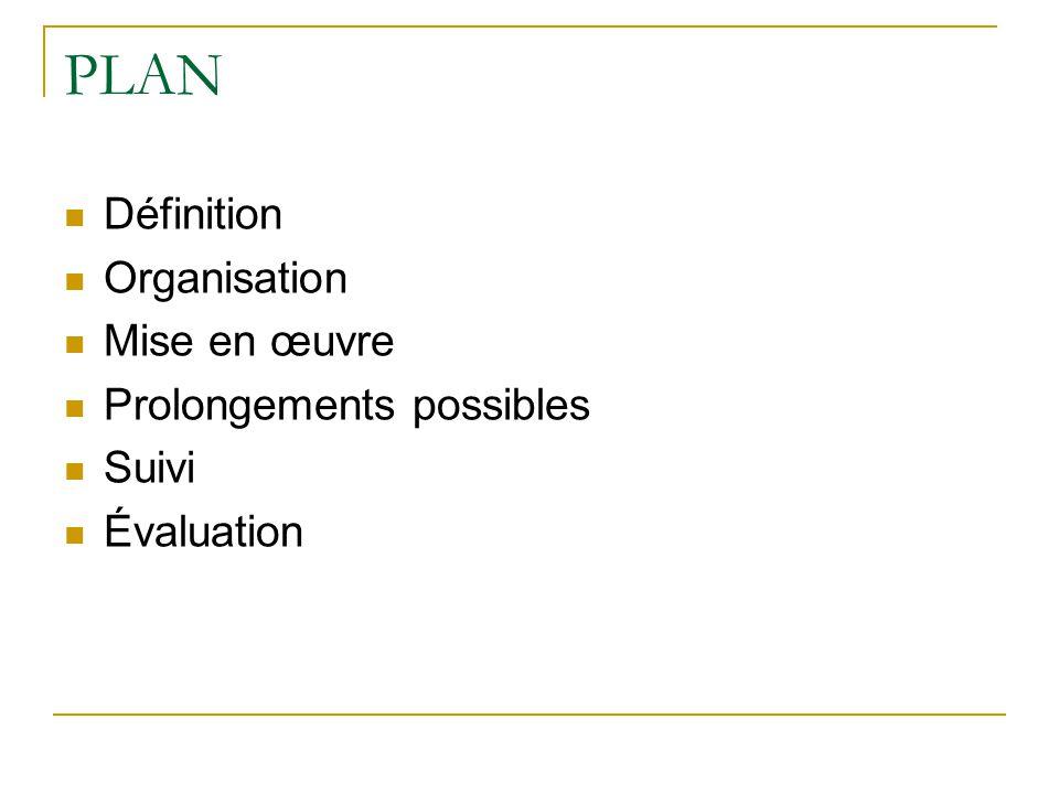 PLAN Définition Organisation Mise en œuvre Prolongements possibles Suivi Évaluation