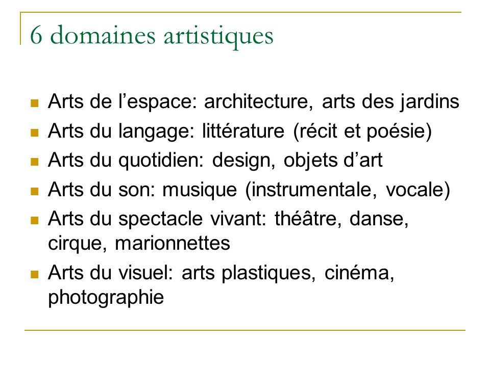 6 domaines artistiques Arts de lespace: architecture, arts des jardins Arts du langage: littérature (récit et poésie) Arts du quotidien: design, objet