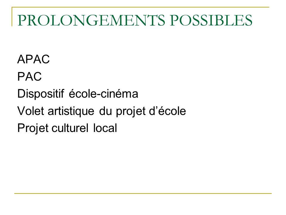 PROLONGEMENTS POSSIBLES APAC PAC Dispositif école-cinéma Volet artistique du projet décole Projet culturel local