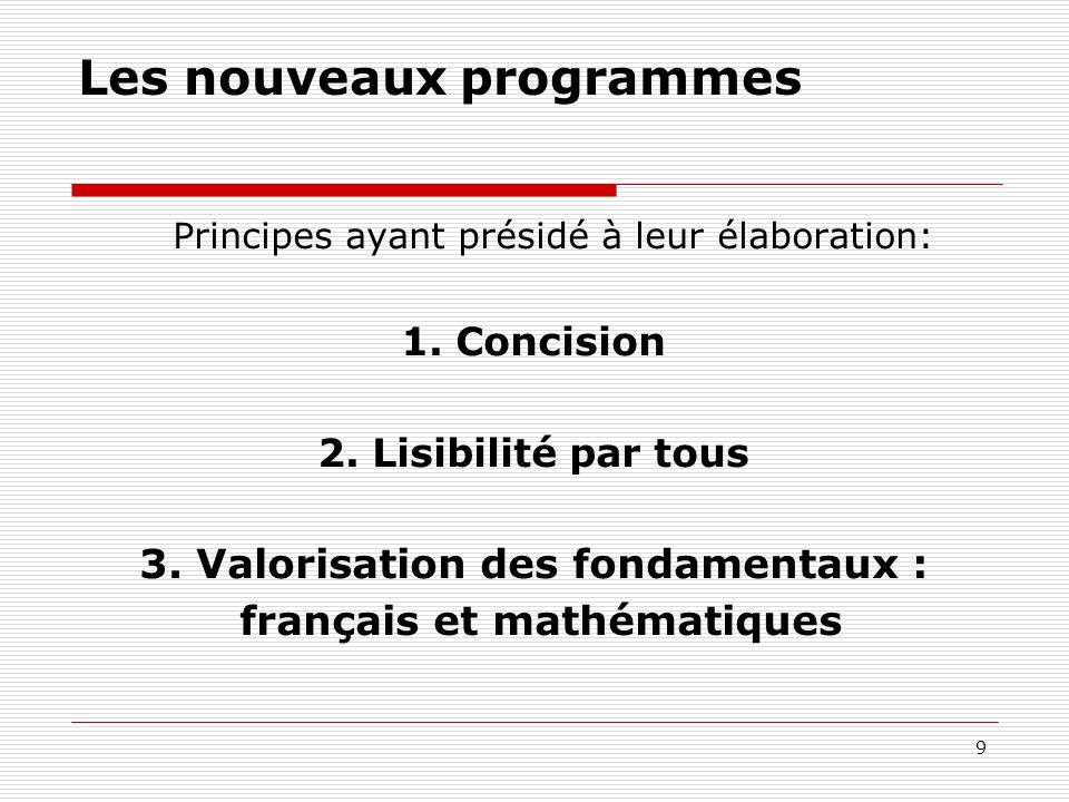9 Les nouveaux programmes Principes ayant présidé à leur élaboration: 1. Concision 2. Lisibilité par tous 3. Valorisation des fondamentaux : français