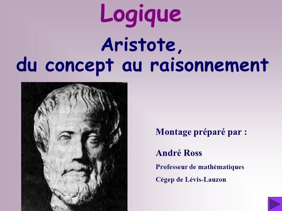 Aristote, du concept au raisonnement Montage préparé par : André Ross Professeur de mathématiques Cégep de Lévis-Lauzon Logique
