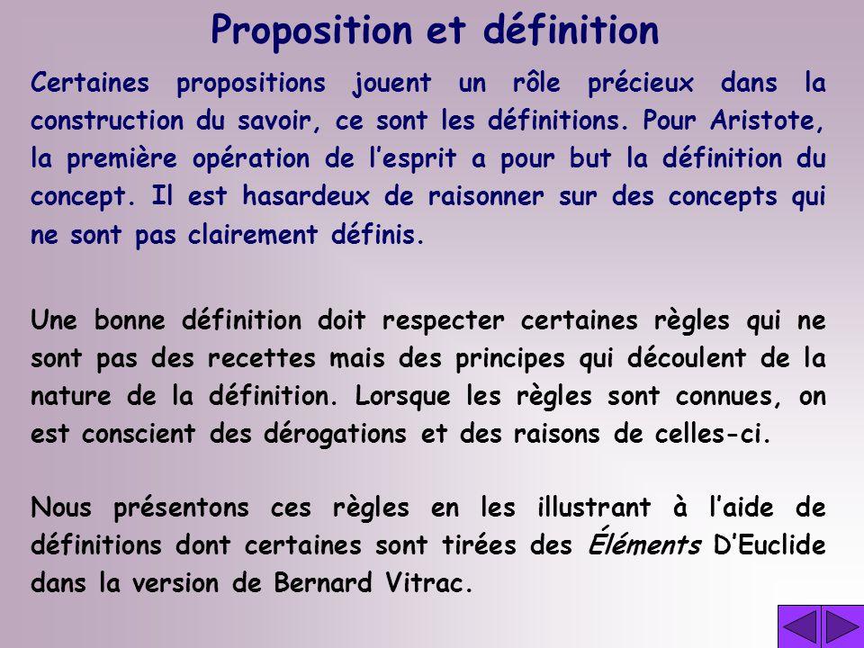 Proposition et définition Certaines propositions jouent un rôle précieux dans la construction du savoir, ce sont les définitions.