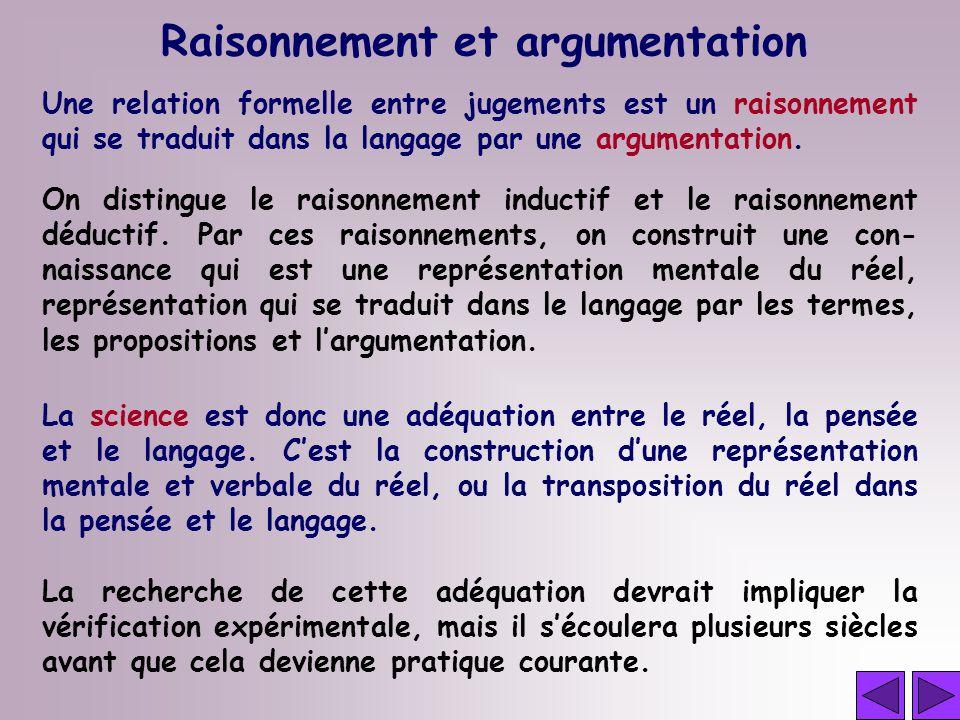 Raisonnement et argumentation Une relation formelle entre jugements est un raisonnement qui se traduit dans la langage par une argumentation.