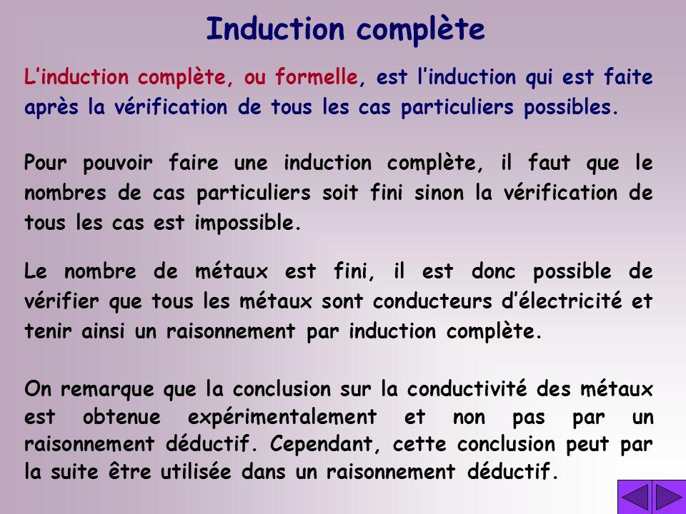 Induction complète Pour pouvoir faire une induction complète, il faut que le nombres de cas particuliers soit fini sinon la vérification de tous les cas est impossible.
