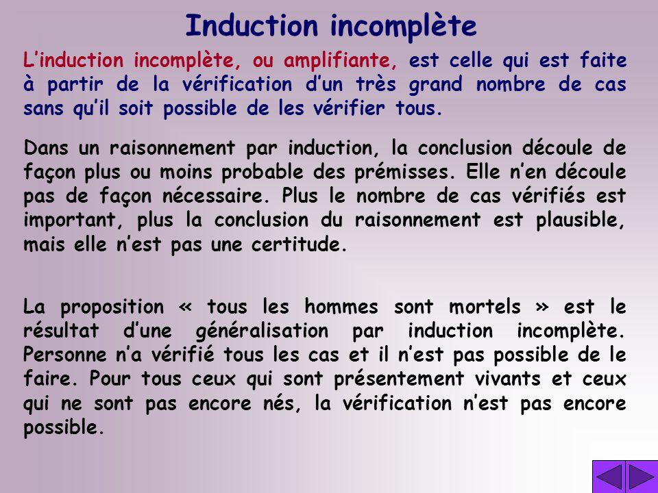 Induction incomplète Linduction incomplète, ou amplifiante, est celle qui est faite à partir de la vérification dun très grand nombre de cas sans quil soit possible de les vérifier tous.