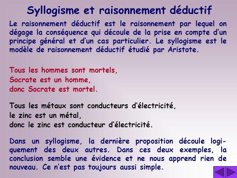 Le raisonnement déductif est le raisonnement par lequel on dégage la conséquence qui découle de la prise en compte dun principe général et dun cas particulier.