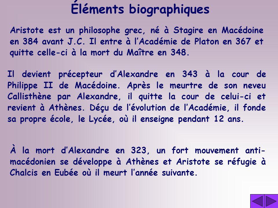 Aristote est un philosophe grec, né à Stagire en Macédoine en 384 avant J.C.