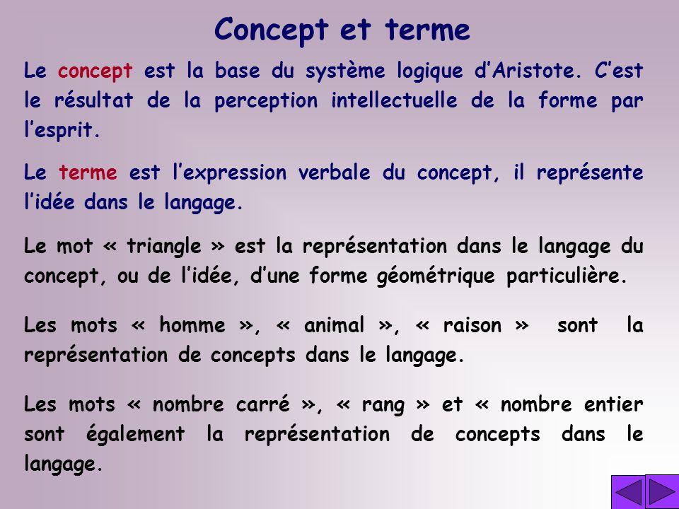 Le concept est la base du système logique dAristote.