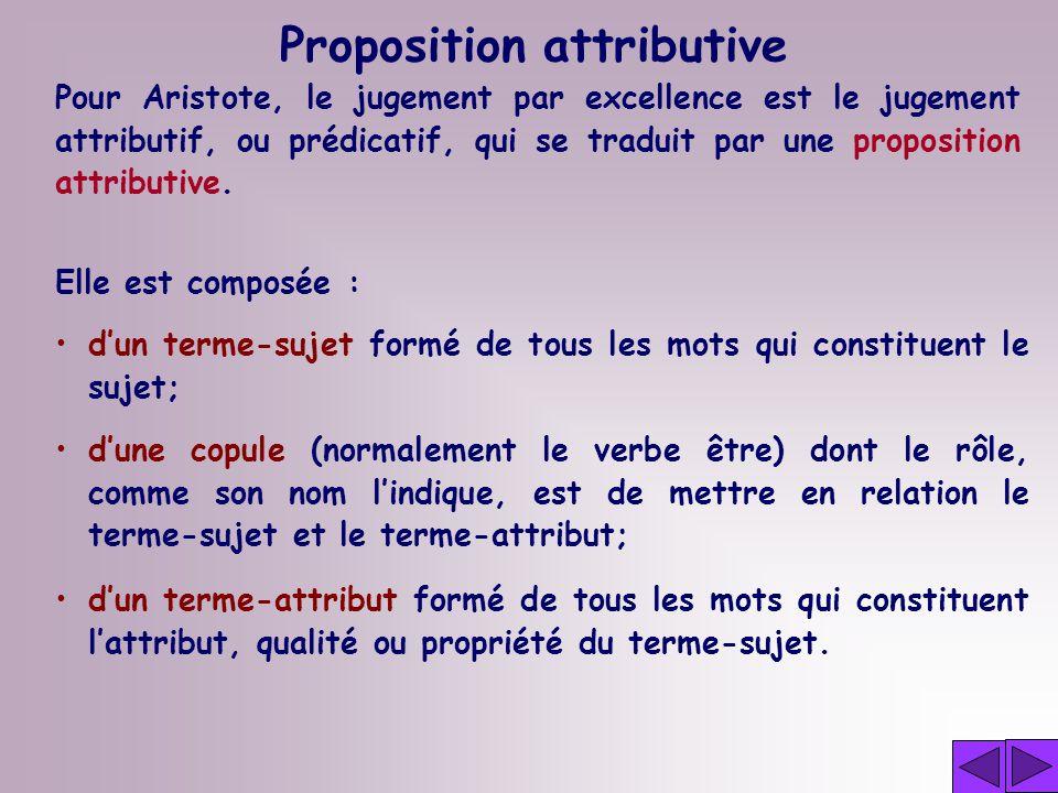 Proposition attributive Pour Aristote, le jugement par excellence est le jugement attributif, ou prédicatif, qui se traduit par une proposition attributive.