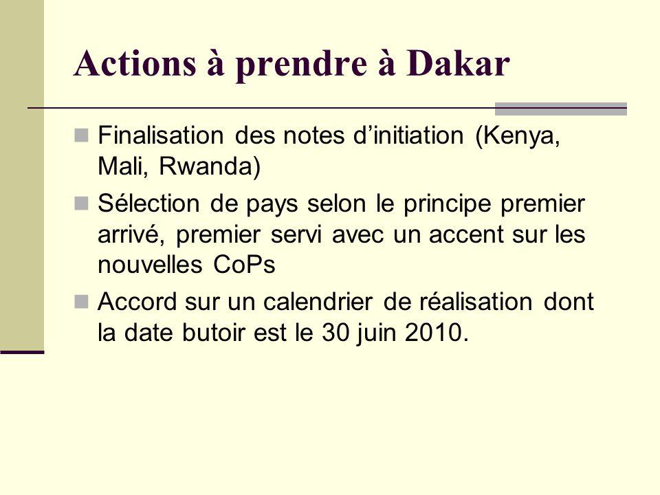 Actions à prendre à Dakar Finalisation des notes dinitiation (Kenya, Mali, Rwanda) Sélection de pays selon le principe premier arrivé, premier servi avec un accent sur les nouvelles CoPs Accord sur un calendrier de réalisation dont la date butoir est le 30 juin 2010.