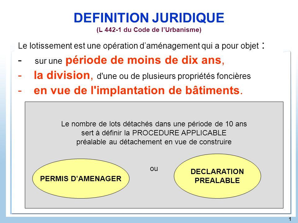 1 DEFINITION JURIDIQUE (L 442-1 du Code de lUrbanisme) Le lotissement est une opération daménagement qui a pour objet : - sur une période de moins de