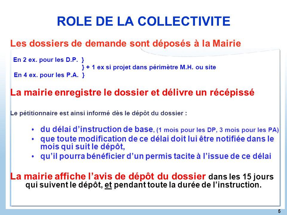 5 ROLE DE LA COLLECTIVITE Les dossiers de demande sont déposés à la Mairie En 2 ex. pour les D.P. } } + 1 ex si projet dans périmètre M.H. ou site En