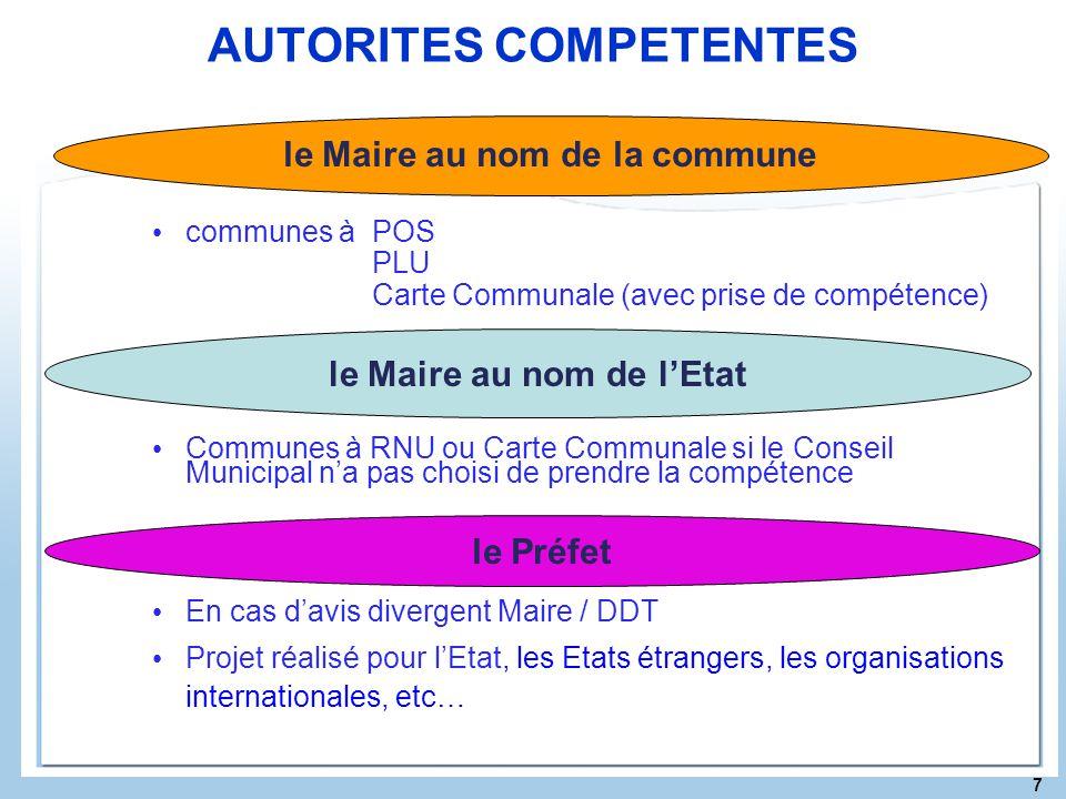 7 AUTORITES COMPETENTES communes à POS PLU Carte Communale (avec prise de compétence) Communes à RNU ou Carte Communale si le Conseil Municipal na pas