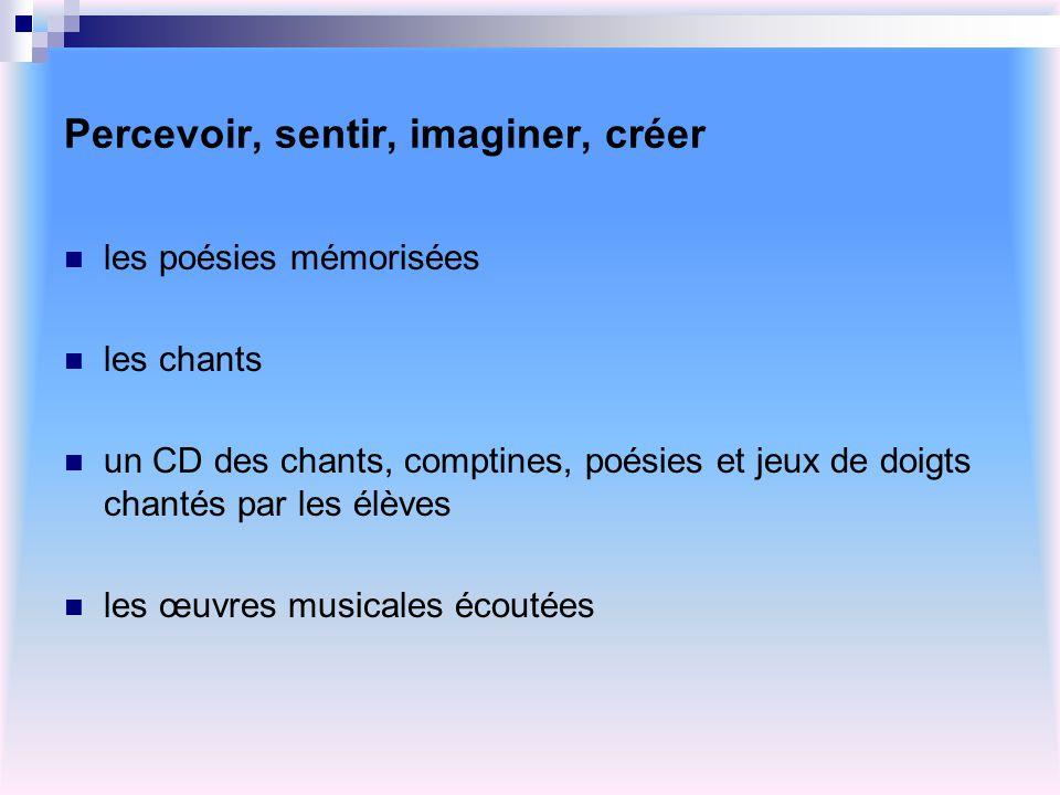 Percevoir, sentir, imaginer, créer les poésies mémorisées les chants un CD des chants, comptines, poésies et jeux de doigts chantés par les élèves les
