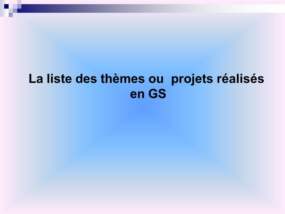 La liste des thèmes ou projets réalisés en GS
