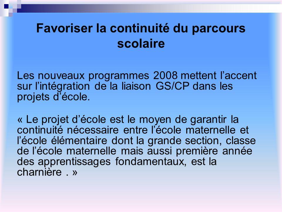 Favoriser la continuité du parcours scolaire Les nouveaux programmes 2008 mettent laccent sur lintégration de la liaison GS/CP dans les projets décole