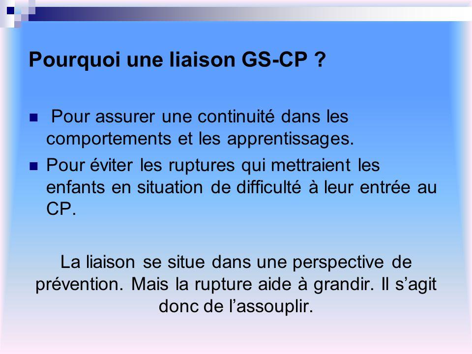 Pourquoi une liaison GS-CP ? Pour assurer une continuité dans les comportements et les apprentissages. Pour éviter les ruptures qui mettraient les enf