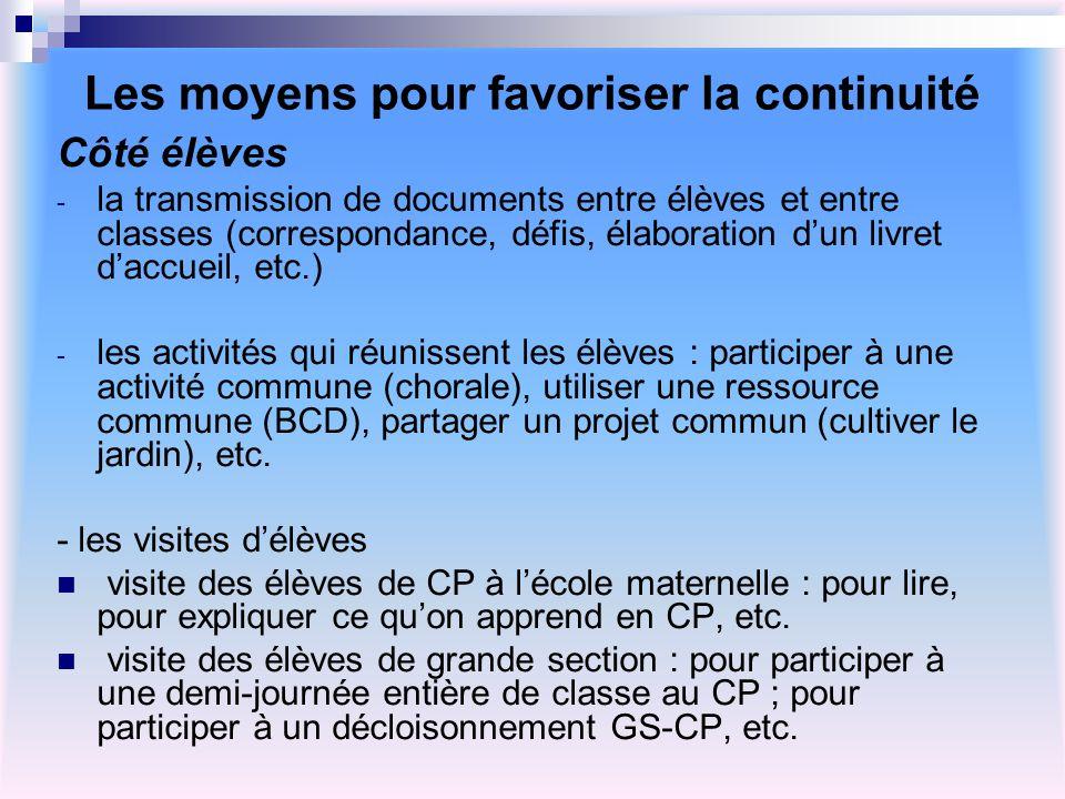 Les moyens pour favoriser la continuité Côté élèves - la transmission de documents entre élèves et entre classes (correspondance, défis, élaboration d