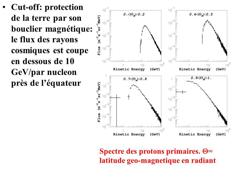 Cut-off: protection de la terre par son bouclier magnétique: le flux des rayons cosmiques est coupe en dessous de 10 GeV/par nucleon près de léquateur Spectre des protons primaires.