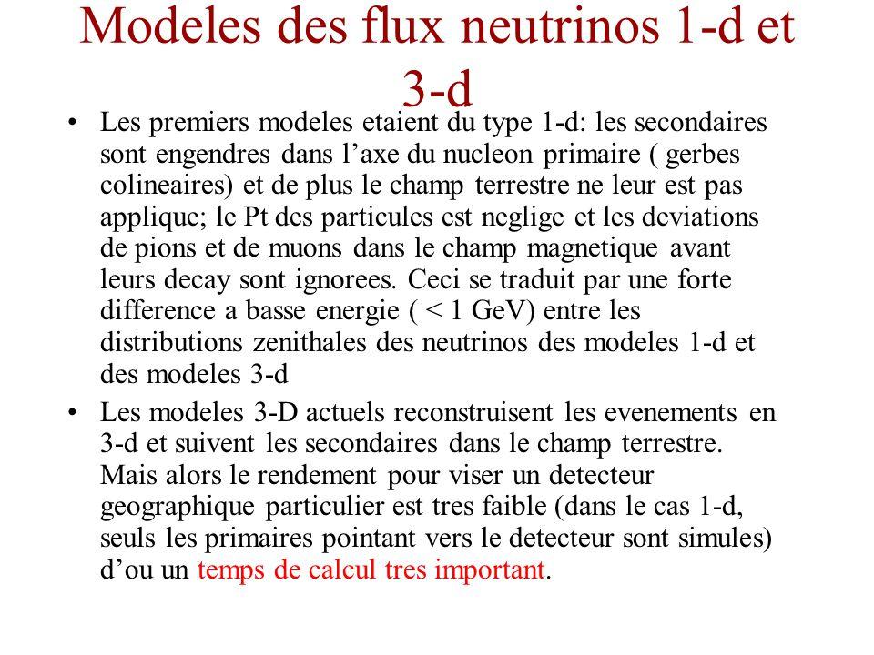 Modeles des flux neutrinos 1-d et 3-d Les premiers modeles etaient du type 1-d: les secondaires sont engendres dans laxe du nucleon primaire ( gerbes colineaires) et de plus le champ terrestre ne leur est pas applique; le Pt des particules est neglige et les deviations de pions et de muons dans le champ magnetique avant leurs decay sont ignorees.