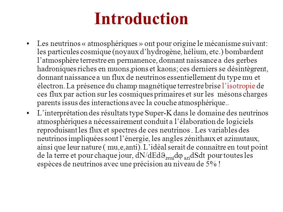 Introduction Les neutrinos « atmosphériques » ont pour origine le mécanisme suivant: les particules cosmique (noyaux dhydrogène, hélium, etc.) bombardent latmosphère terrestre en permanence, donnant naissance a des gerbes hadroniques riches en muons,pions et kaons; ces derniers se désintègrent, donnant naissance a un flux de neutrinos essentiellement du type mu et électron.