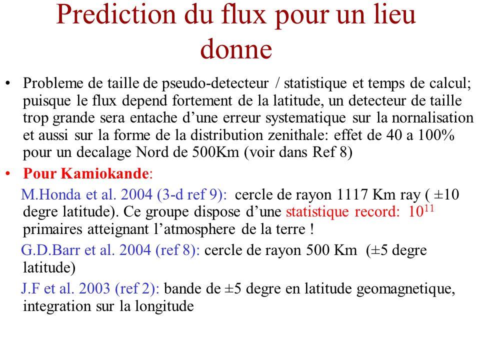 Prediction du flux pour un lieu donne Probleme de taille de pseudo-detecteur / statistique et temps de calcul; puisque le flux depend fortement de la latitude, un detecteur de taille trop grande sera entache dune erreur systematique sur la nornalisation et aussi sur la forme de la distribution zenithale: effet de 40 a 100% pour un decalage Nord de 500Km (voir dans Ref 8) Pour Kamiokande: M.Honda et al.