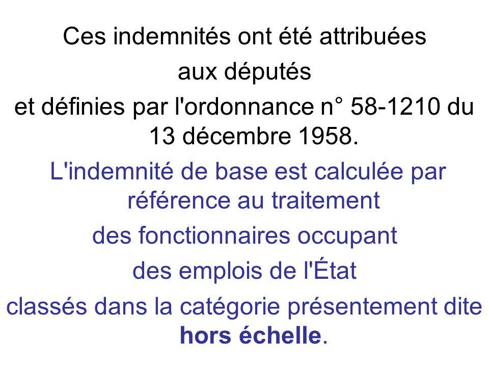 Ces indemnités ont été attribuées aux députés et définies par l ordonnance n° 58-1210 du 13 décembre 1958.