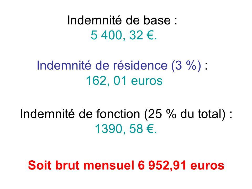 Indemnité de base : 5 400, 32.