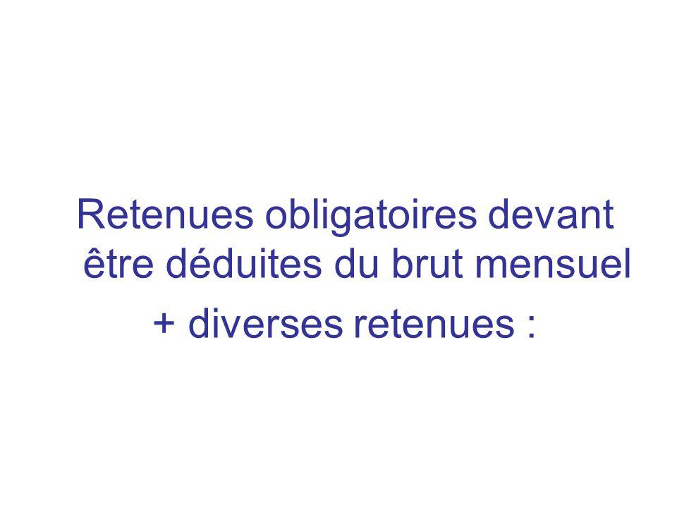Retenues obligatoires devant être déduites du brut mensuel + diverses retenues :