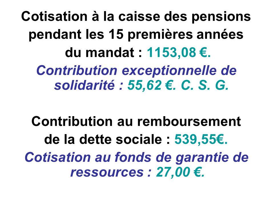 Cotisation à la caisse des pensions pendant les 15 premières années du mandat : 1153,08.