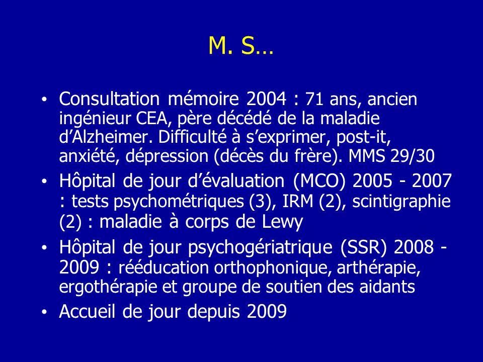 M. S… Consultation mémoire 2004 : 71 ans, ancien ingénieur CEA, père décédé de la maladie dAlzheimer. Difficulté à sexprimer, post-it, anxiété, dépres