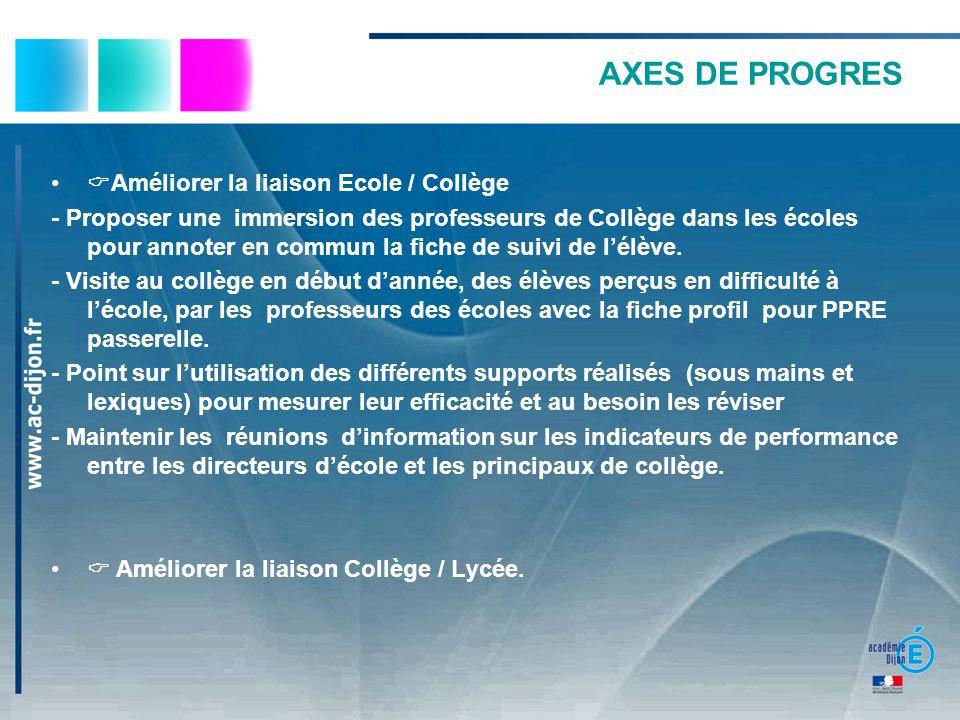 AXES DE PROGRES Améliorer la liaison Ecole / Collège - Proposer une immersion des professeurs de Collège dans les écoles pour annoter en commun la fic