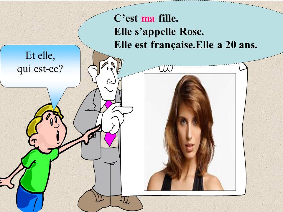 Cest ma fille. Elle sappelle Rose. Elle est française.Elle a 20 ans. Et elle, qui est-ce?