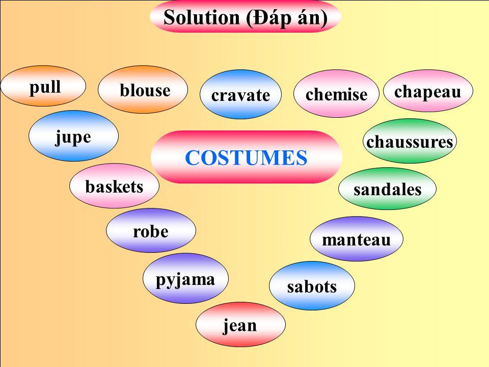 cravate blouse jean Solution (Đáp án) pyjama chemise sabots manteau robe jupe pull sandales baskets chaussures chapeau COSTUMES