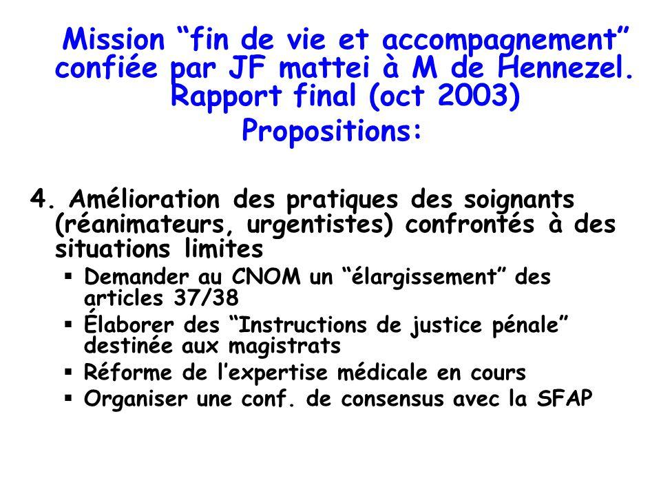 Mission fin de vie et accompagnement confiée par JF mattei à M de Hennezel. Rapport final (oct 2003) Propositions: 4. Amélioration des pratiques des s