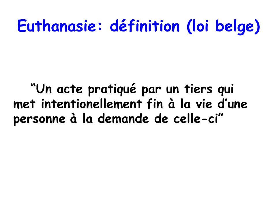 Euthanasie: définition (loi belge) Un acte pratiqué par un tiers qui met intentionellement fin à la vie dune personne à la demande de celle-ci