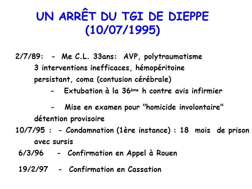 UN ARRÊT DU TGI DE DIEPPE (10/07/1995) 2/7/89: - Me C.L. 33ans: AVP, polytraumatisme 3 interventions inefficaces, hémopéritoine persistant, coma (cont