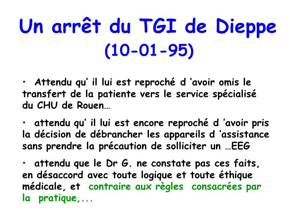 Un arrêt du TGI de Dieppe (10-01-95) Attendu qu il lui est reproché d avoir omis le transfert de la patiente vers le service spécialisé du CHU de Roue