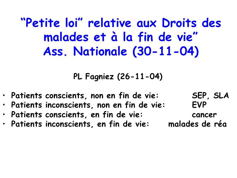 Petite loi relative aux Droits des malades et à la fin de vie Ass. Nationale (30-11-04) PL Fagniez (26-11-04) Patients conscients, non en fin de vie: