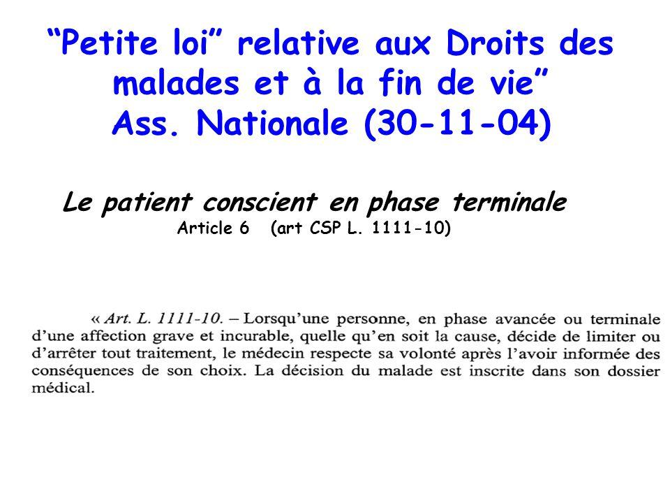 Petite loi relative aux Droits des malades et à la fin de vie Ass. Nationale (30-11-04) Le patient conscient en phase terminale Article 6 (art CSP L.