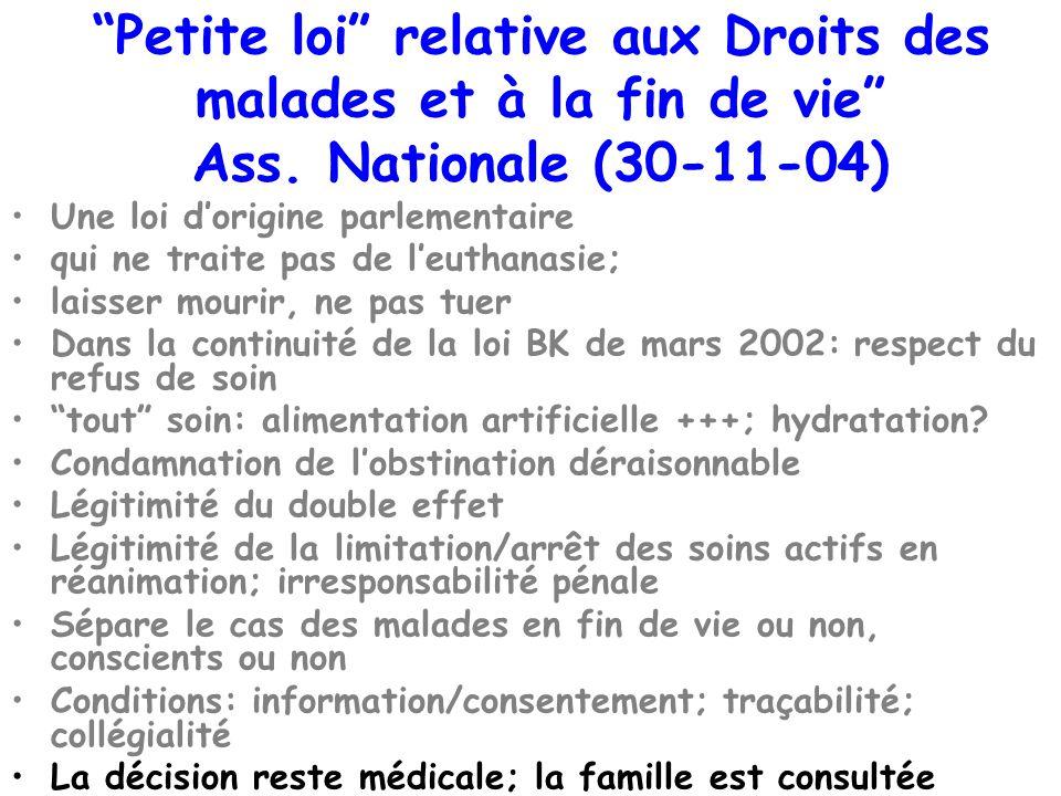 Petite loi relative aux Droits des malades et à la fin de vie Ass. Nationale (30-11-04) Une loi dorigine parlementaire qui ne traite pas de leuthanasi
