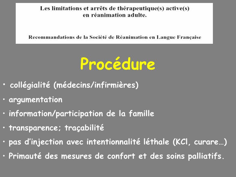 Procédure collégialité (médecins/infirmières) argumentation information/participation de la famille transparence; traçabilité pas dinjection avec inte