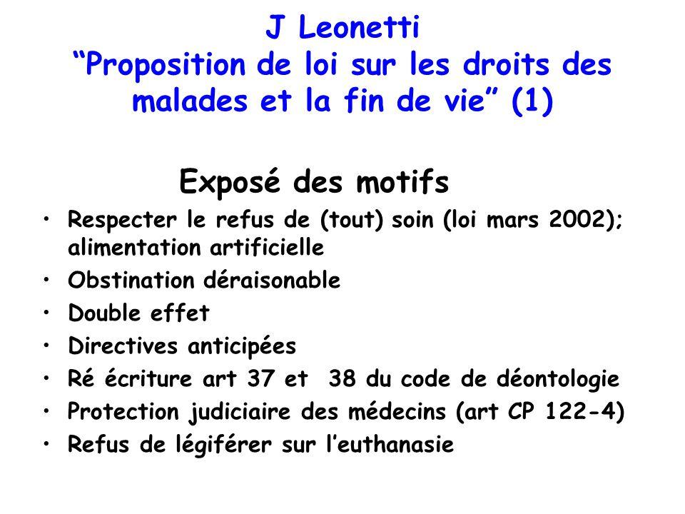 J Leonetti Proposition de loi sur les droits des malades et la fin de vie (1) Exposé des motifs Respecter le refus de (tout) soin (loi mars 2002); ali