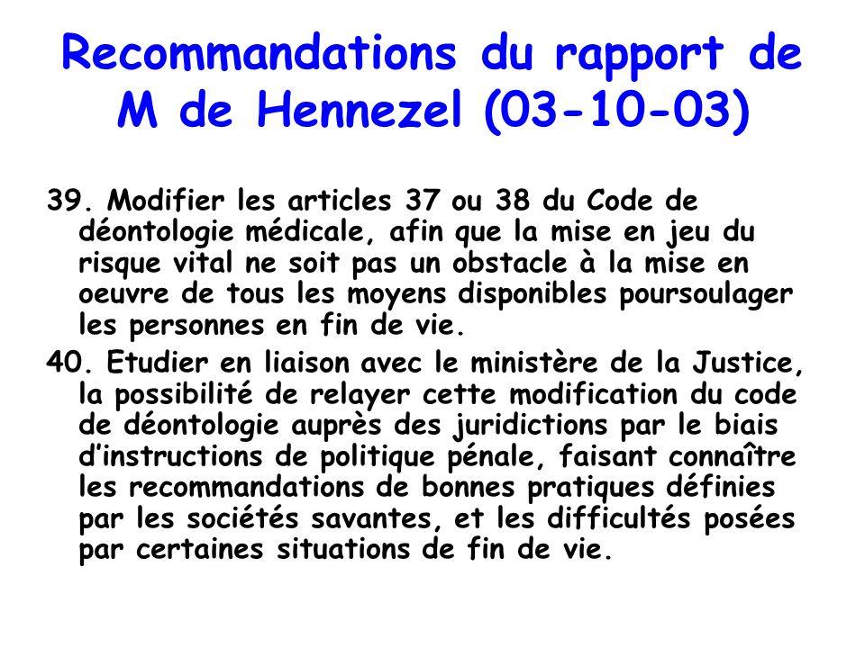 Recommandations du rapport de M de Hennezel (03-10-03) 39. Modifier les articles 37 ou 38 du Code de déontologie médicale, afin que la mise en jeu du